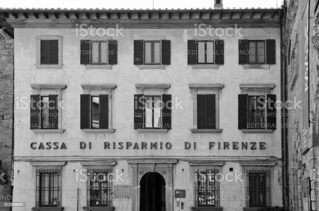 Bank in Cortona, Italy stock photo
