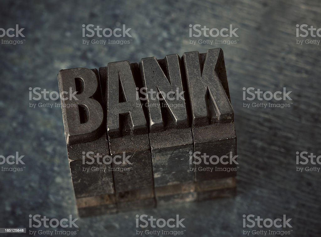 Bank In Letterpress Type royalty-free stock photo