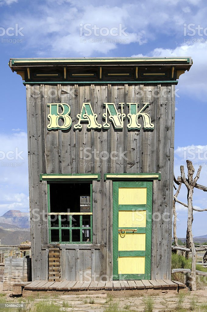 Bank in the Wild West stock photo