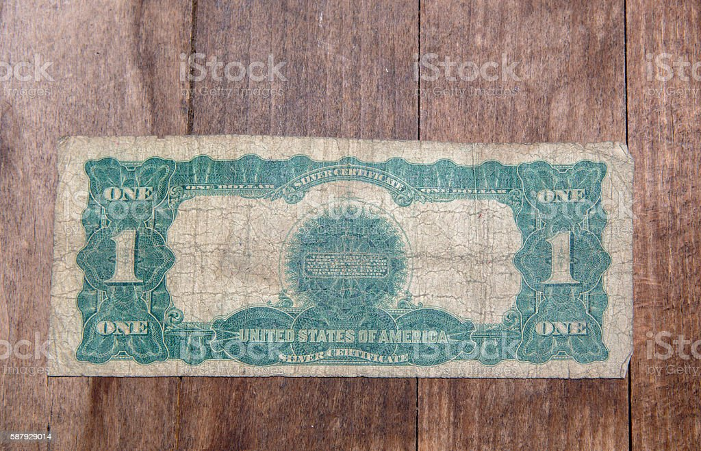 Bank Note - One Dollar Bill from 1899 Back stock photo