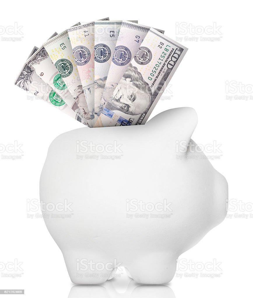 Bank note piggy bank stock photo