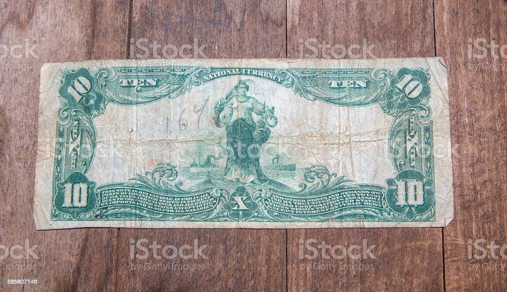 Bank Note - Ten Dollar Bill from 1903 - back stock photo