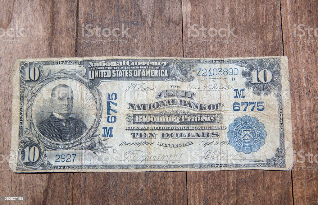 Bank Note - Ten Dollar Bill from 1903 stock photo
