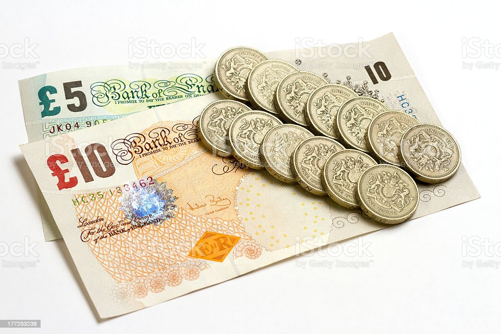 UK Bank Notes And Pound Coins royalty-free stock photo