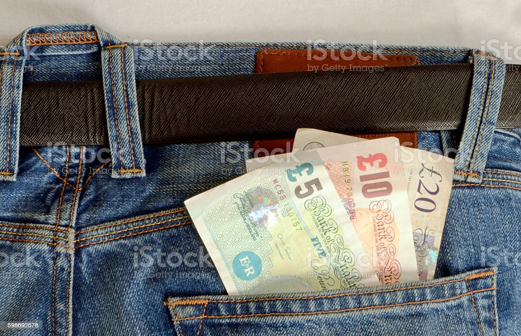 Bank Notes in Blue Jeans Pocket stock photo