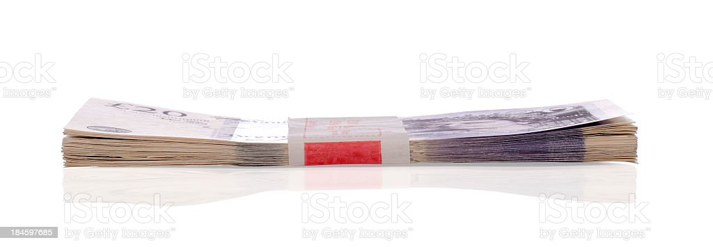 Bank notes lying flat with clipping path stock photo