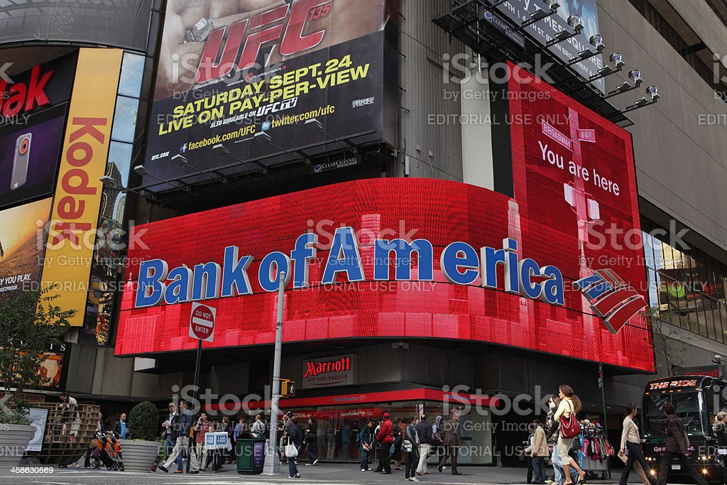 Bank of America Times Square video display stock photo