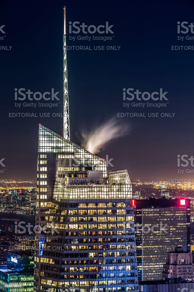 Bank of America tower at night stock photo