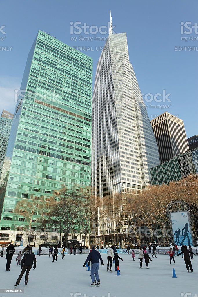Bank of America Tower New York Bryant Park ice rink stock photo