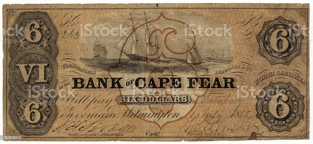 $6 Bank of Cape Fear stock photo