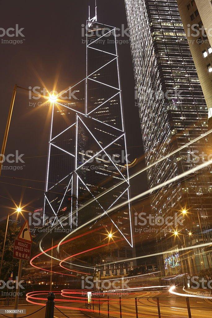 Bank of china Hong Kong at Night royalty-free stock photo