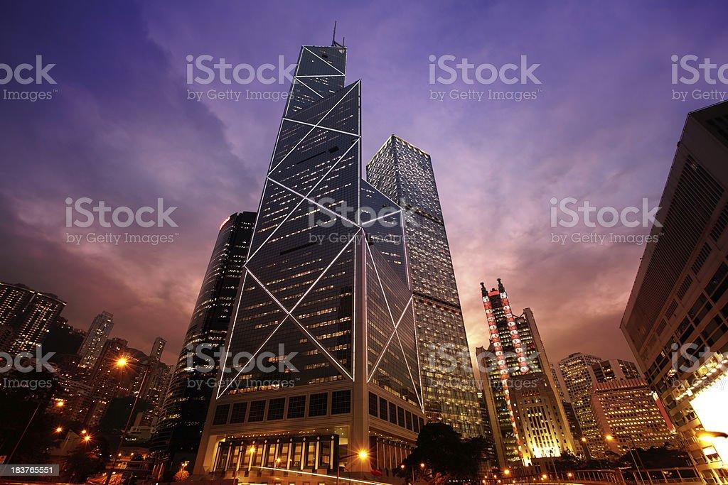 Bank of China Hong Kong at Night stock photo