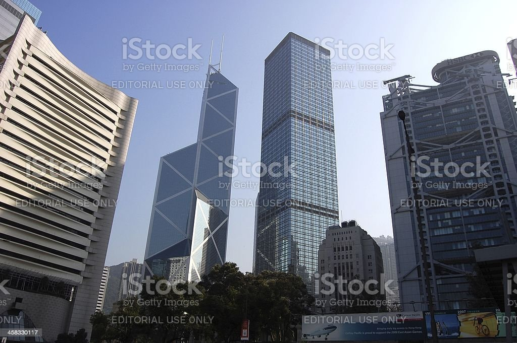 Bank of China Tower and CheungKong center, Hong Kong stock photo