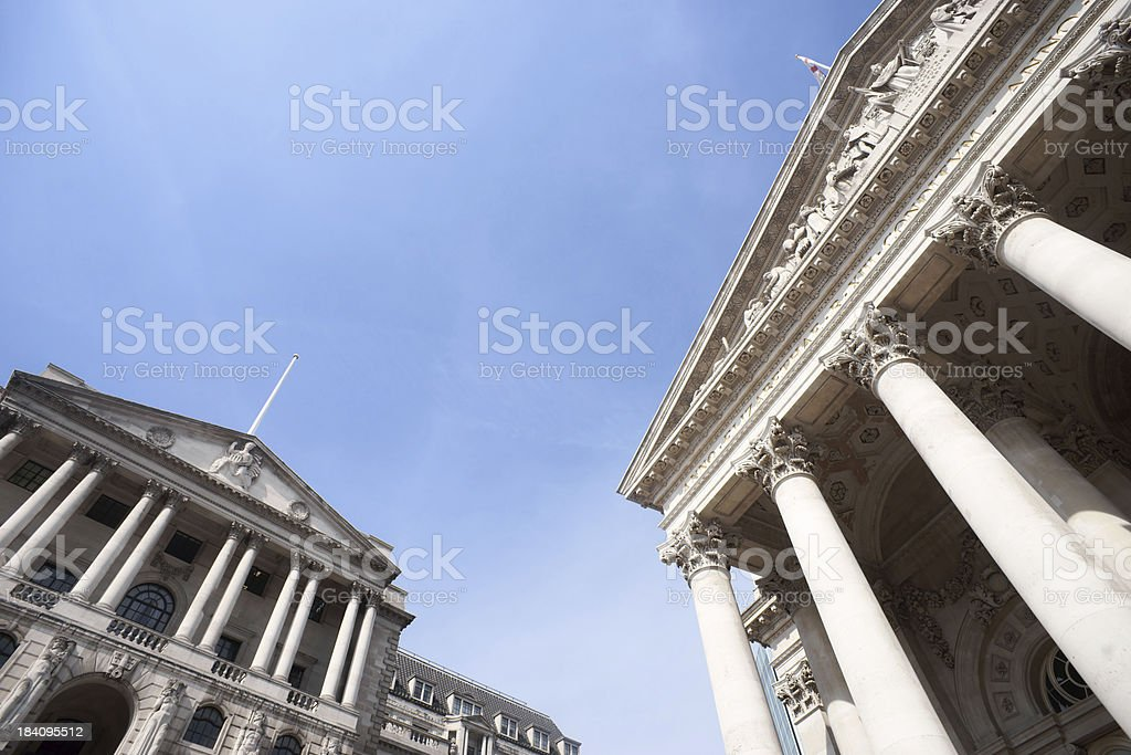 Bank of England and London Stock Exchange royalty-free stock photo