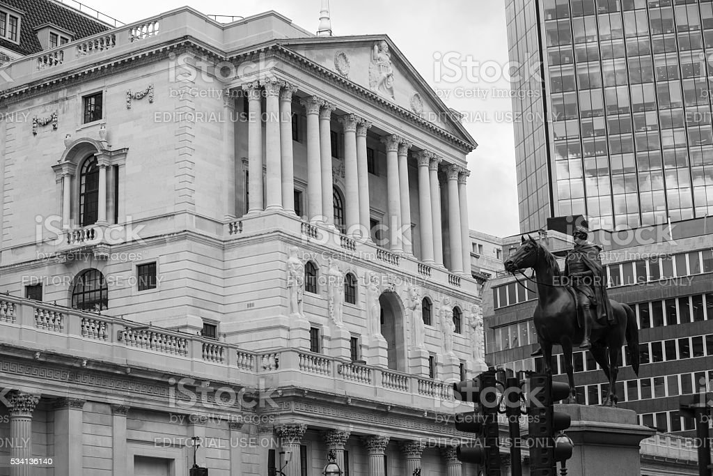 Bank of England and square in front of bank. London stock photo