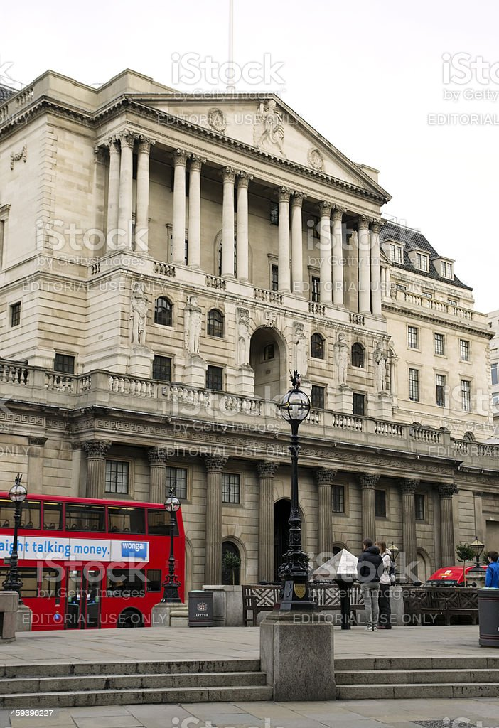 Bank of England and Wonga bus poster stock photo