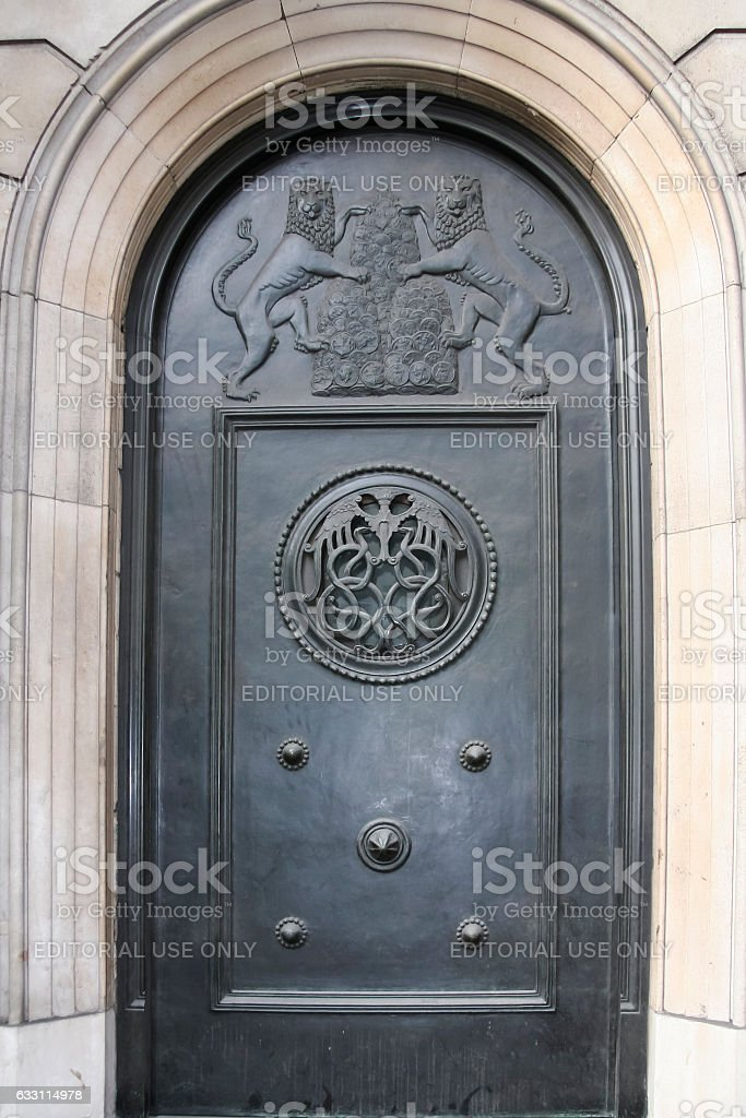 bank of england front door decoration london uk stock photo