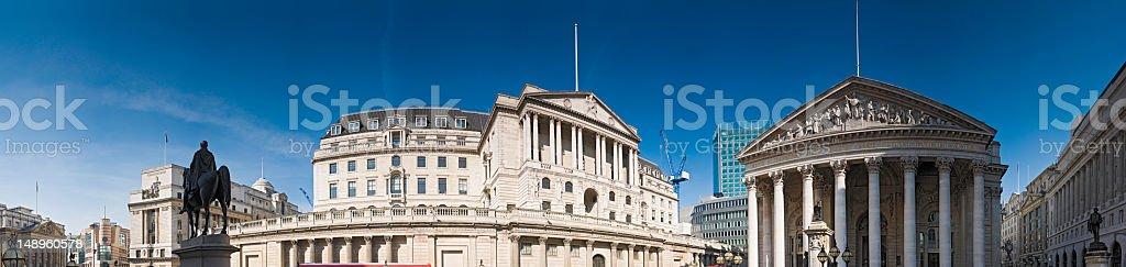 Bank of England London panorama stock photo