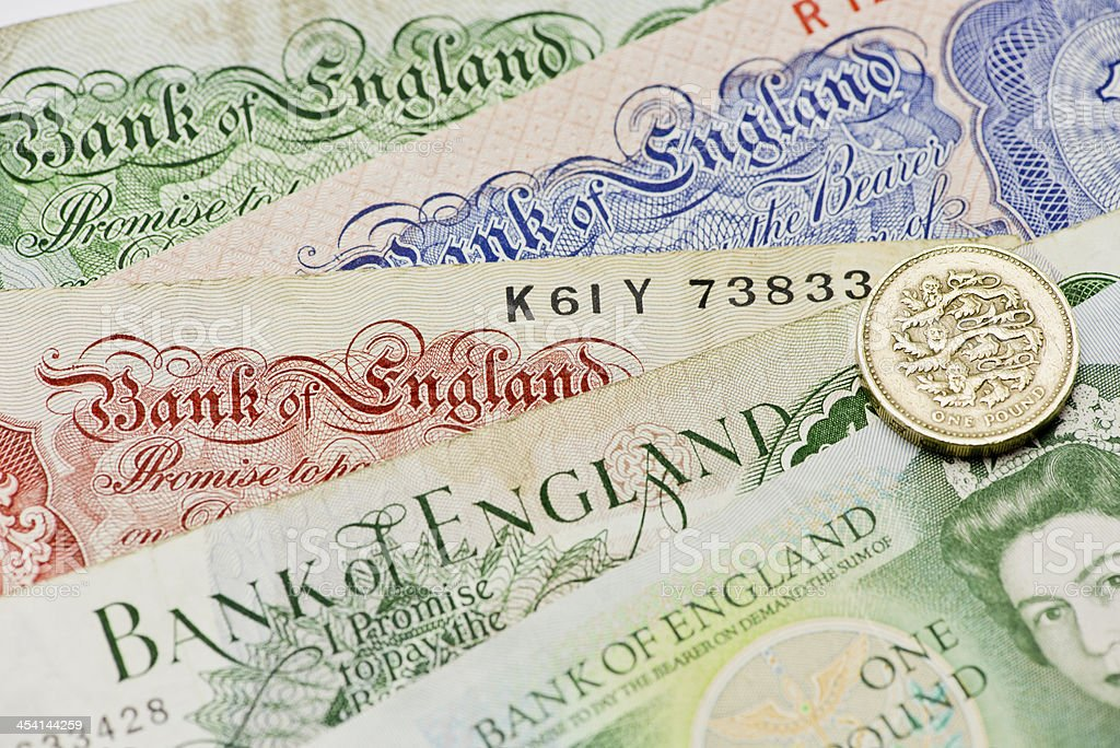 Bank of England old notes royalty-free stock photo