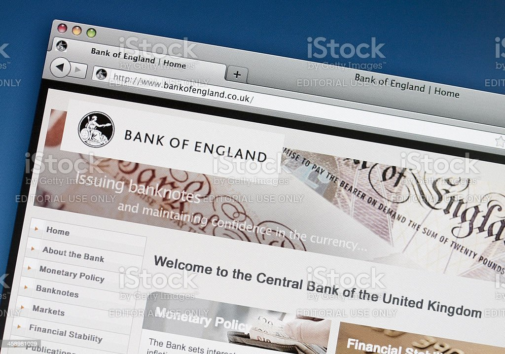 Bank of England website royalty-free stock photo