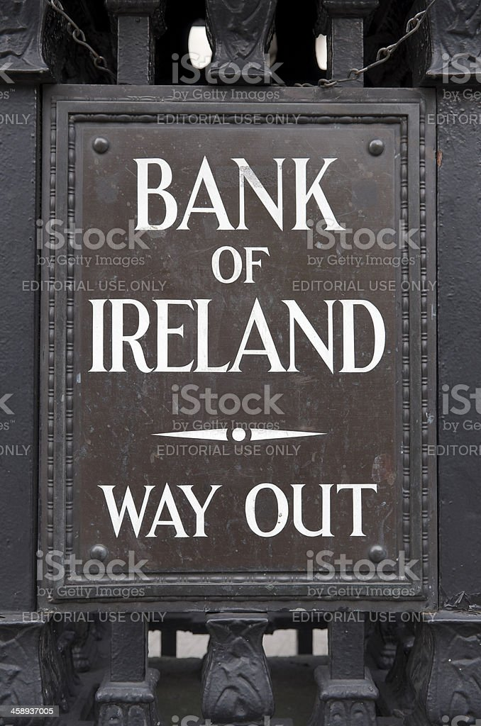 Bank of Ireland Way Out sign royalty-free stock photo