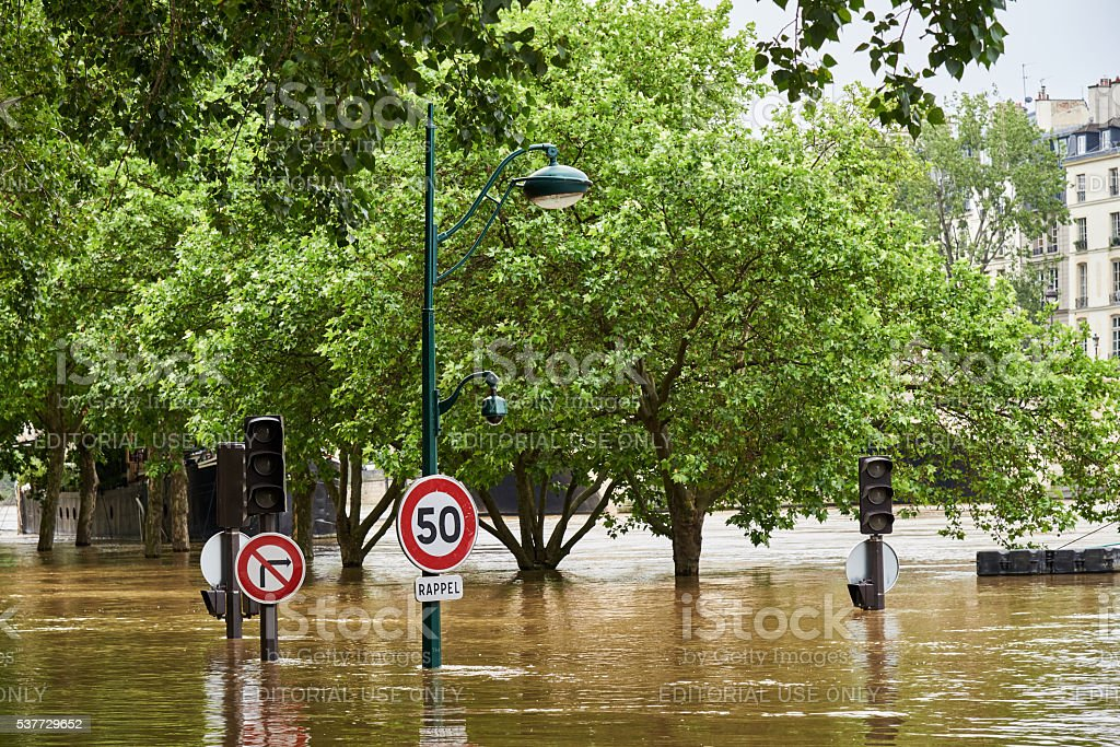 bank of river Seine during paris floods 2016 royalty-free stock photo