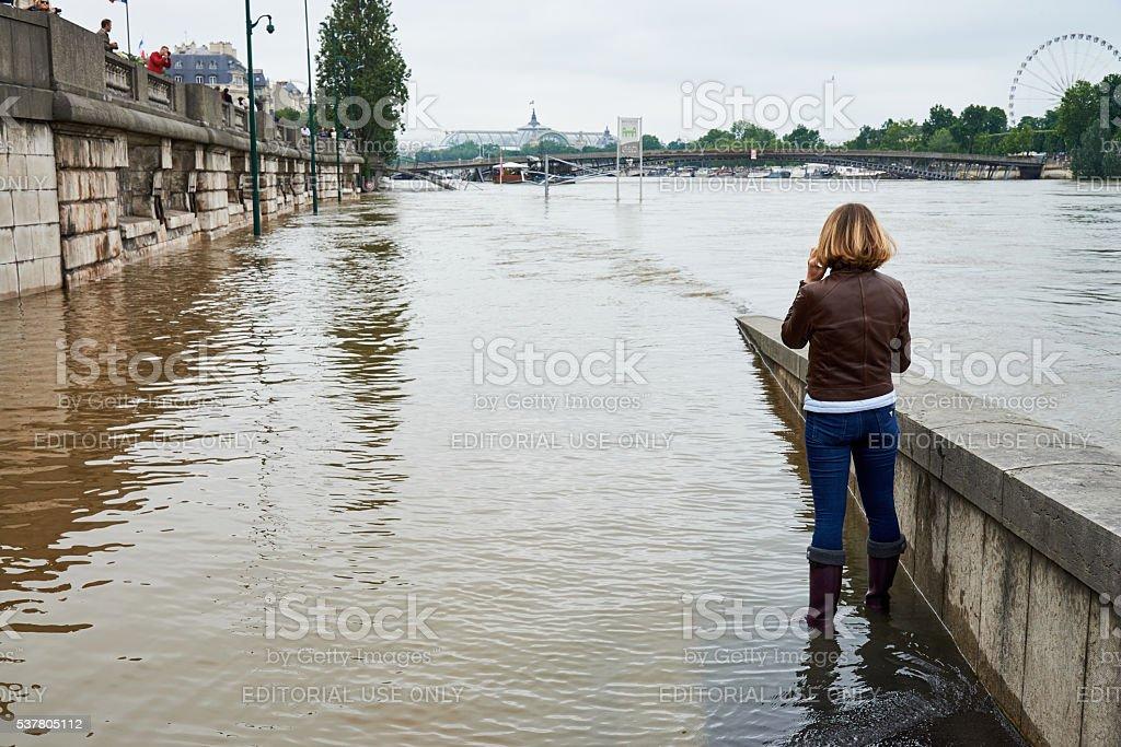 bank of river Seine during paris floods 2016 stock photo