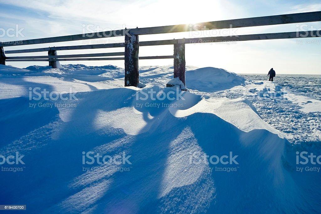 Bank of snow stock photo
