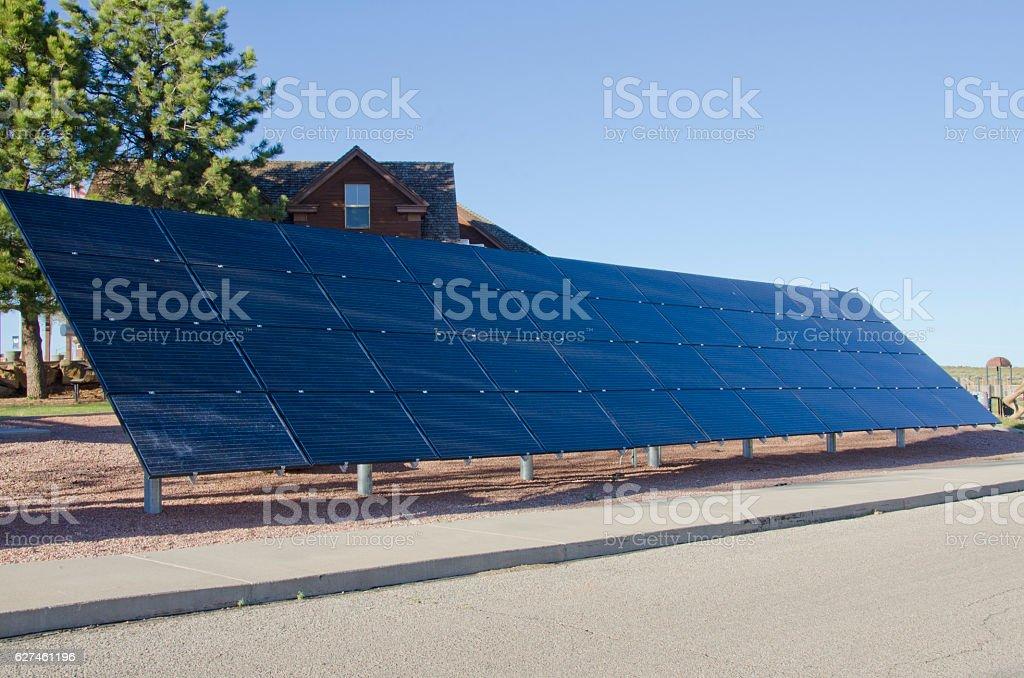 Bank of Solar Panels stock photo