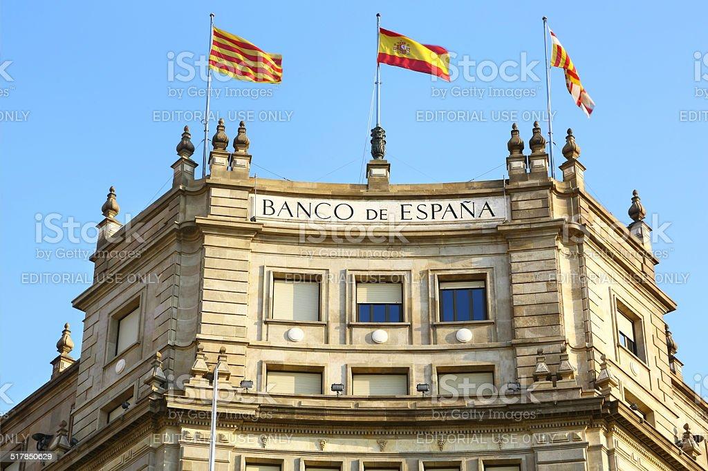 Bank of Spain in Barcelona stock photo