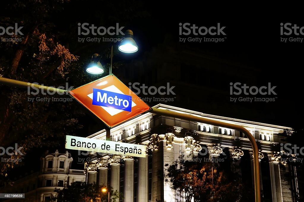 Bank of spain metro station sign, Madrid. stock photo