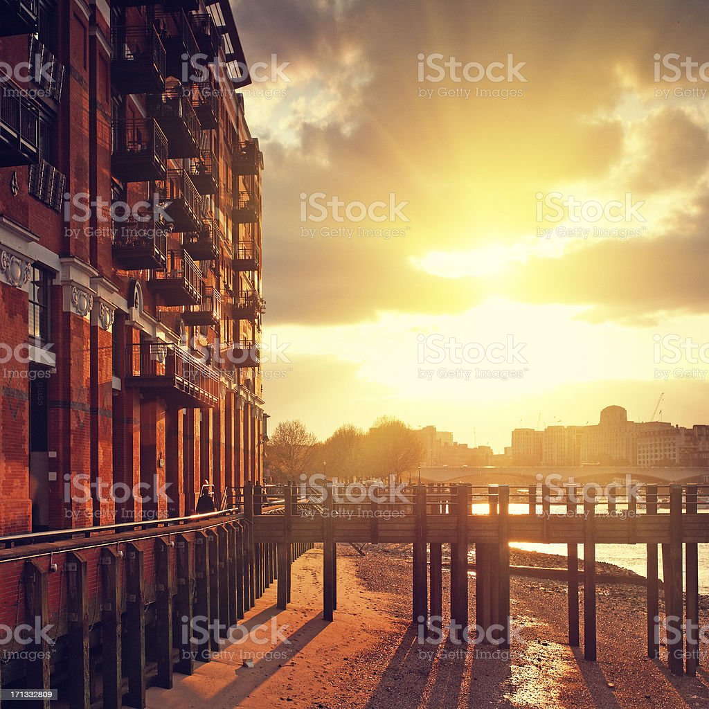 Bank of Thames river in London royalty-free stock photo