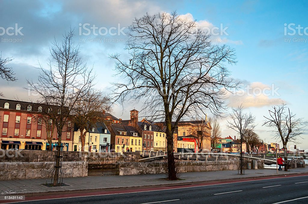 Bank of the river Lee in Cork, Ireland stock photo