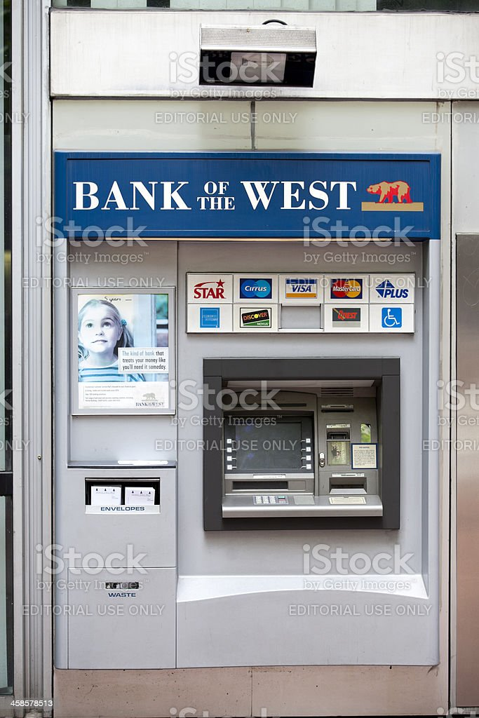 Bank of the West ATM accepting Credit Cards for withdrawal royalty-free stock photo