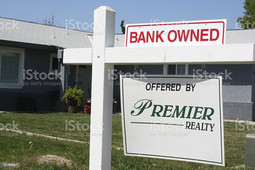Bank owned home for sale stock photo