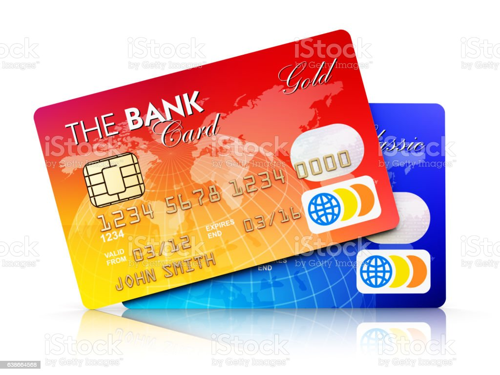 Bank plastic credit cards isolated on white background stock photo