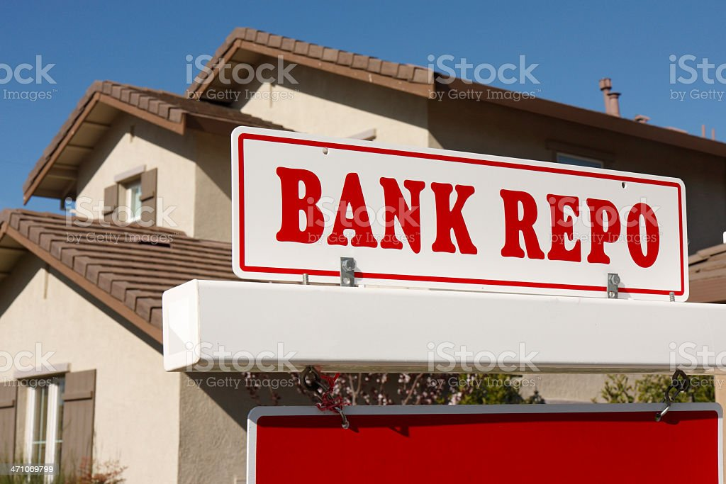 Bank repo for sale sign stock photo