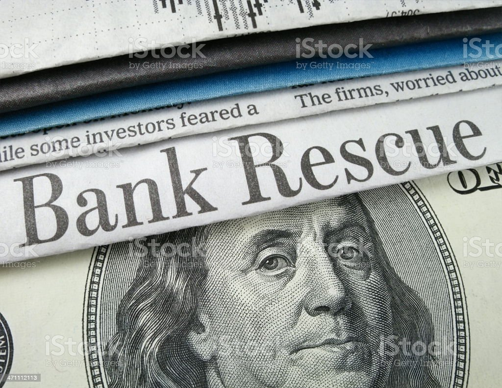 Bank Rescue and Cash royalty-free stock photo