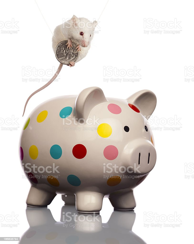 Bank Robbery; Daring Mouse Thief Escapes With Money royalty-free stock photo