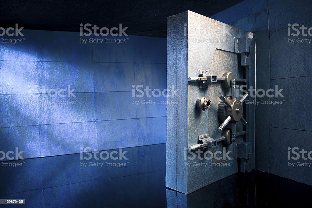 Bank safe vault at night stock photo