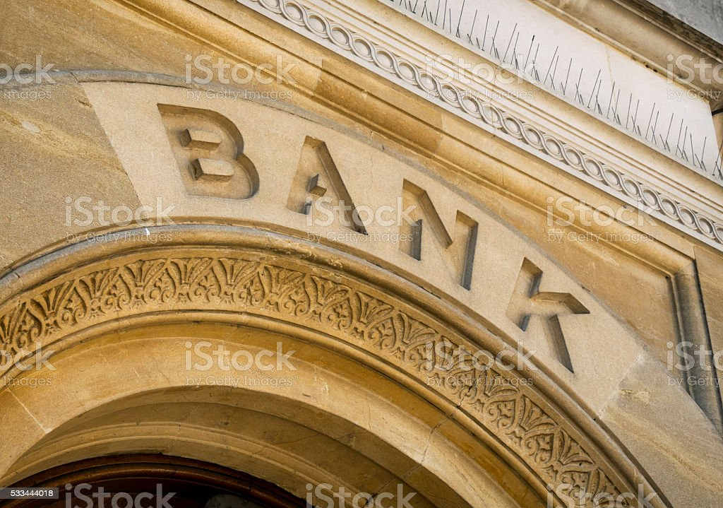 Bank sign on an arch stock photo