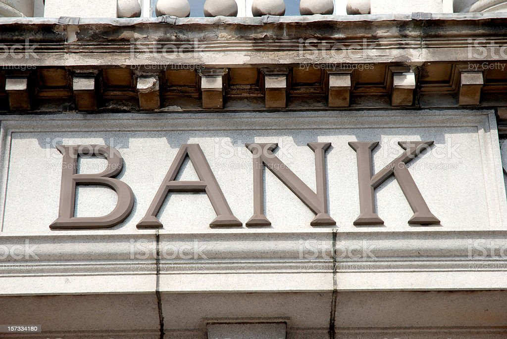 Bank sign on building royalty-free stock photo