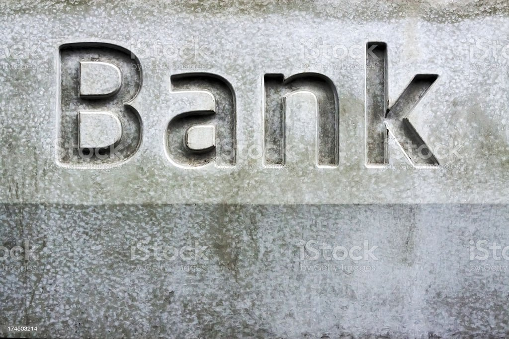Bank sign on stone wall of the building, copy space royalty-free stock photo