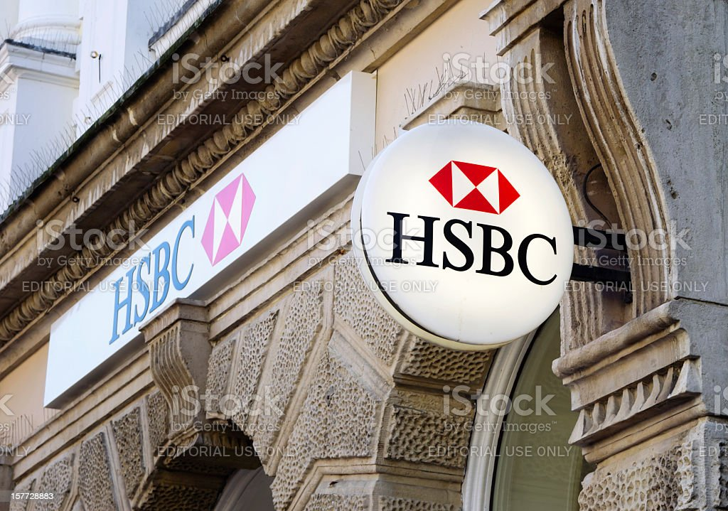 HSBC Bank signs stock photo