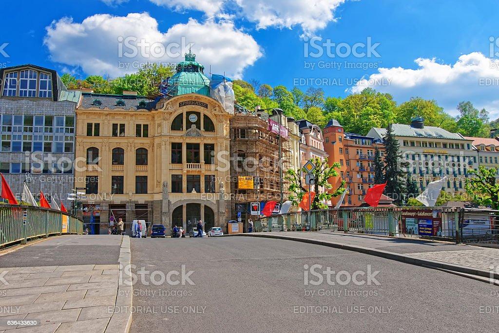 Bank Sparkasse at Promenade in Karlovy Vary stock photo