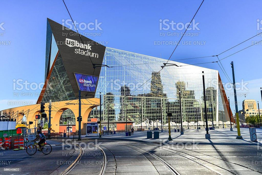 US Bank Stadium Home to Minnesota Vikings and Train Tracks royalty-free stock photo