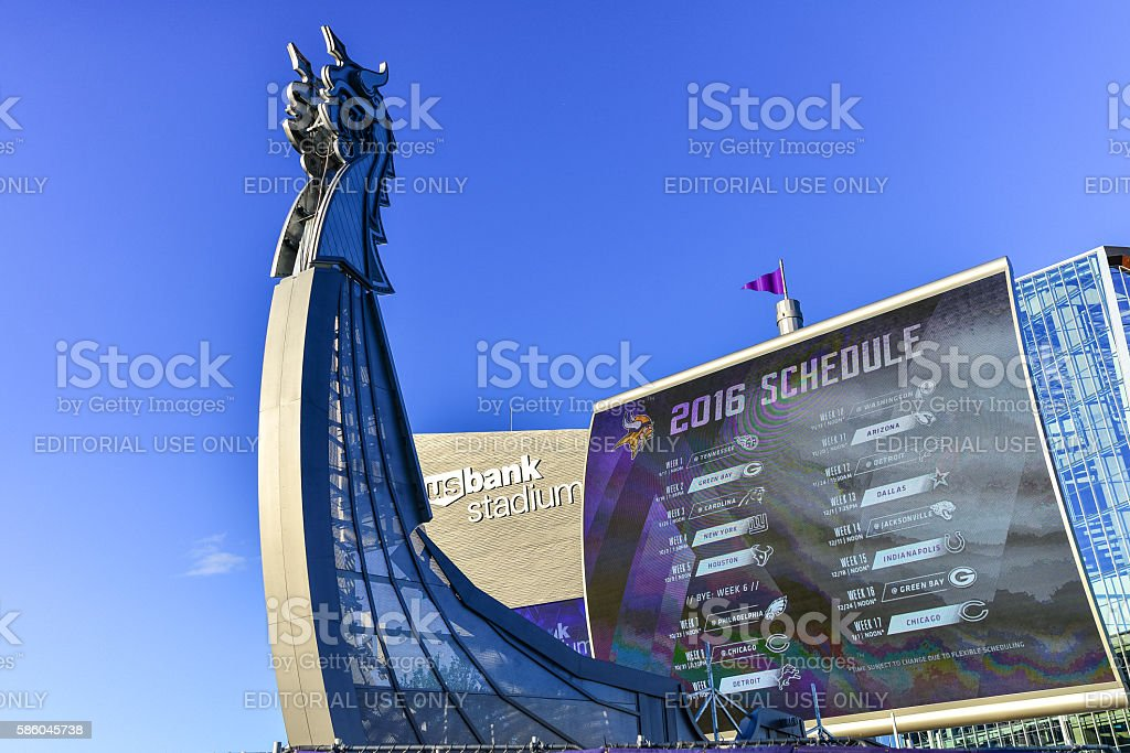 US Bank Stadium Home to Minnesota Vikings Football - Ship stock photo