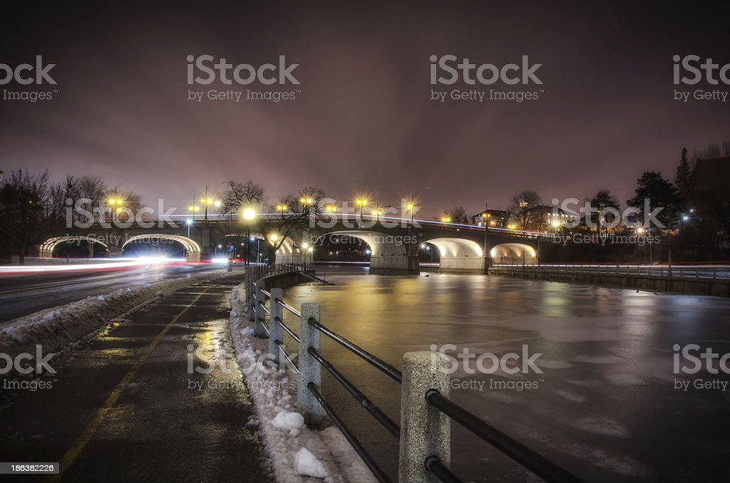 Bank Street Bridge as seen along the Rideau Canal stock photo