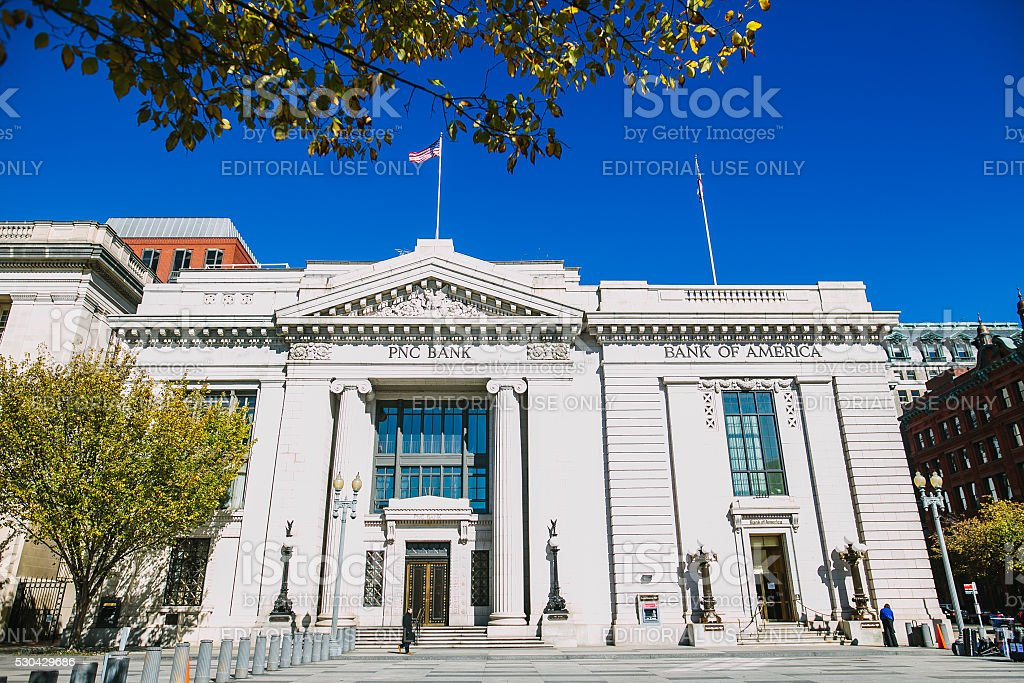 PNC Bank. Streets, Architecture and traffic of Washington DC. stock photo