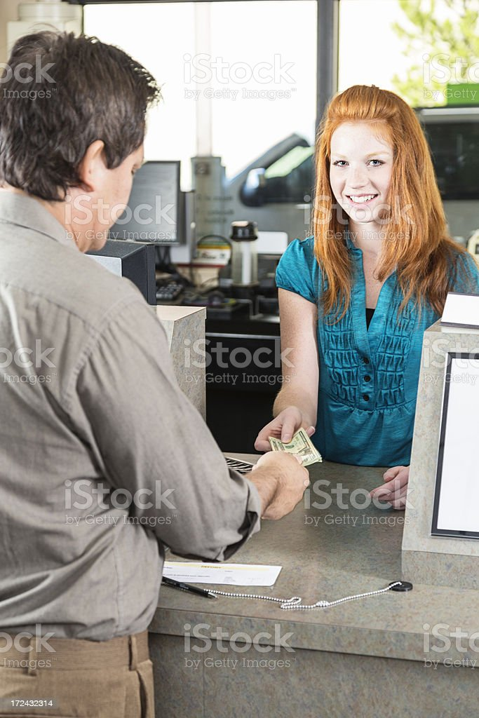 Bank Teller With Customer royalty-free stock photo